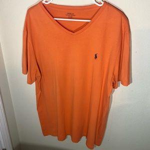 Polo by Ralph Lauren, Mens Size Large, Orange Short Sleeve V Neck Tee Shirt